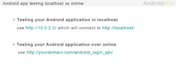 android testing app localhost vs online